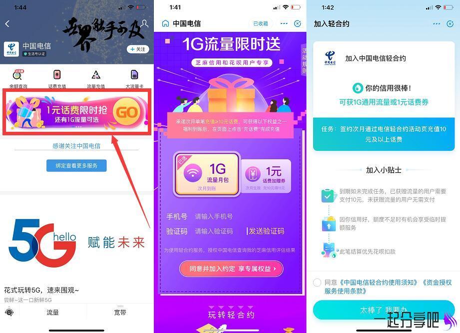 中国电信小程序 签约免费领取1G流量 第1张